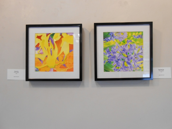 "Two small pieces, both 10"" x 10"" photo collages were also part of the show. They are ""Floral Fire"" and ""Dancing Lilacs"", both from this year"