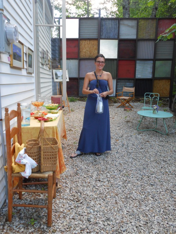 The outdoor space at the Gatehouse Gallery with Malynda Forcier for David Sordi's opening reception