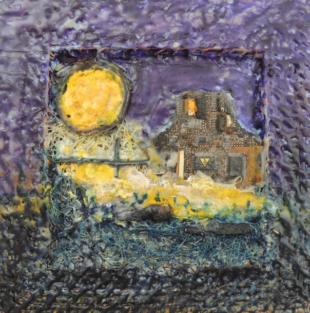 """Harvest Moon"", 2013 (c) Anne Strout. Mixed-media, encaustic."