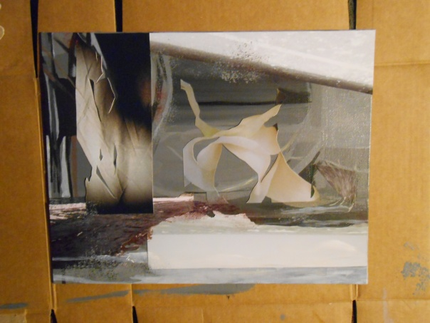 """Because"", 2013, (c) Daryl-Ann Hurst. OIl, acrylic,photo on canvas panel."