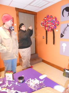 Beth Wittenberg and Bob Farrell during the arranging of the pop-up
