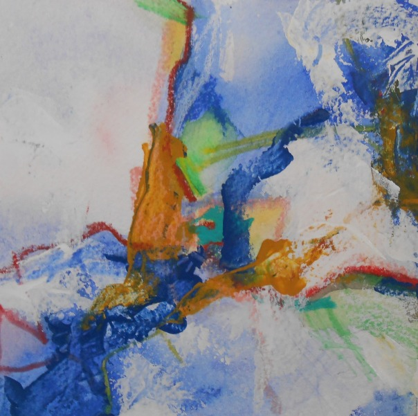 """Alpensiec"", 2014. Watercolor, acrylic, oil pastel on Arches watercolor paper."