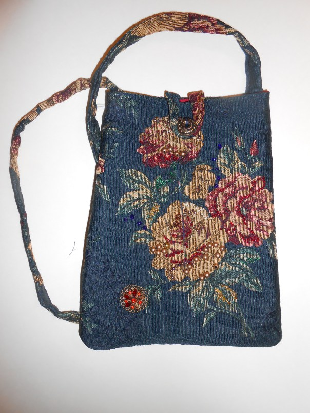 Blue brocade bag, hand-beaded embellishments, satin lining