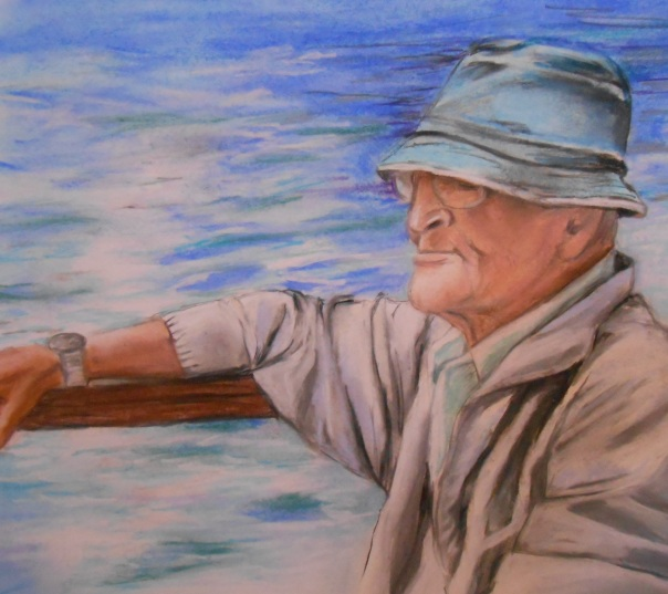 """The Old Man and the Sea"", (2014), Daryl-Ann Dartt Hurst, pastel and graphite on paper"