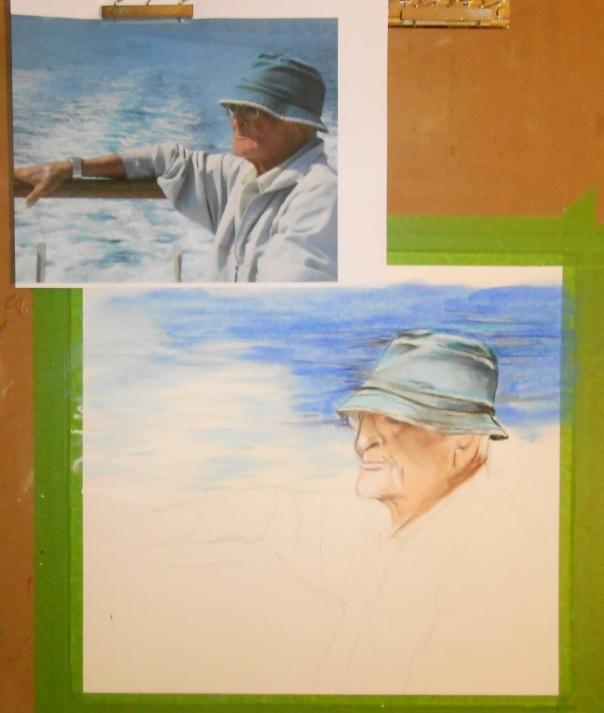 The Old Man and the Sea, 2014, pastel. in progress