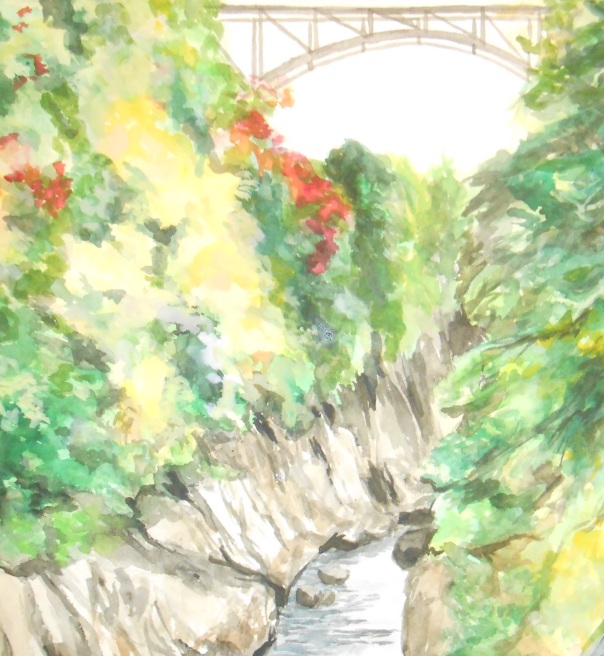"""Quechee Gorge"", 2014, watercolor on Arches, (c)Daryl-Ann Dartt Hurst"