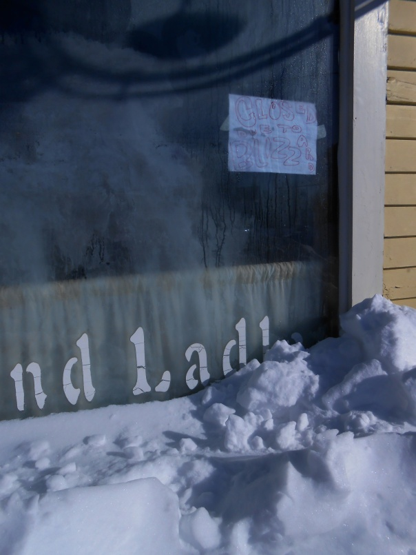 "Snowstorm Nemo in 2013. ""Closed Due to Blizzard"" (c)Daryl-Ann Dartt Hurst, 2013. Digital photograph."