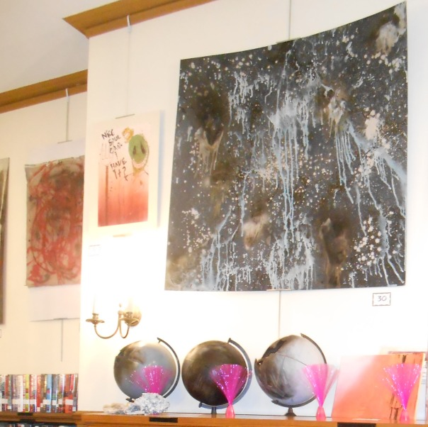 """Gray Planets"" on the mantel, ""Space and Stuff"", large piece above, all (c) Gabe Smith"