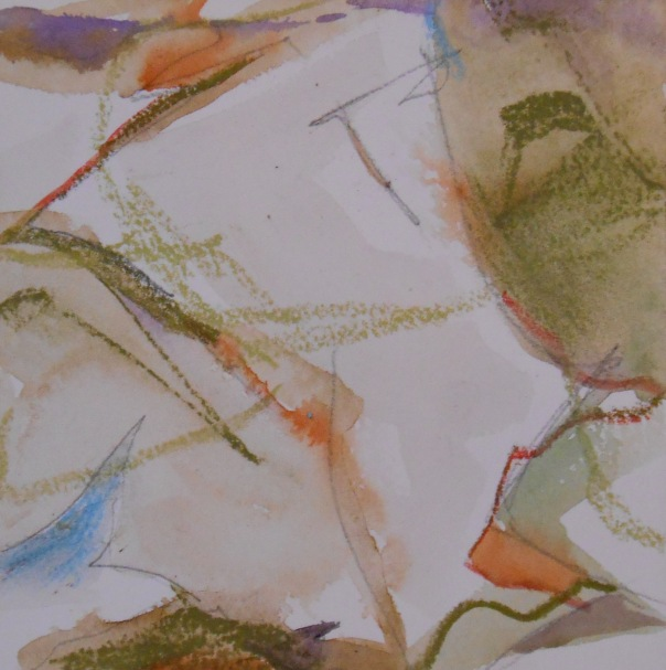 """Mind Canyon 1"", (c) Daryl-Ann Dartt Hurst, 2015. Watercolor, pastel, pencil. 6"" x 6"""