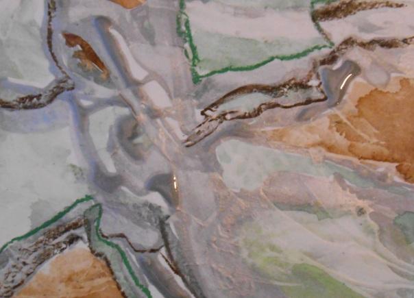 """Mind Topo 2"". (c) Daryl-Ann Dartt Hurst, 2015, watercolor, acrylic, pastel,  7"" x 5"""