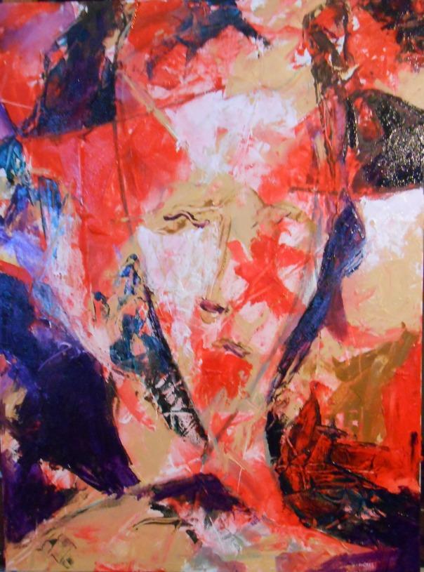 """""""Modigliani's Mistress"""", (c) Daryl-Ann Dartt Hurst, 2015. Mixed media on canvas. 18"""" x 24"""""""