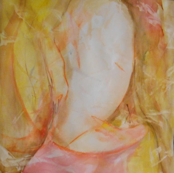"""Treadiing Lightly on Hallowed Ground"" (c) Daryl-Ann Dartt Hurst, watercolor/mixed media, 28"" x 28"" framed, 2015"