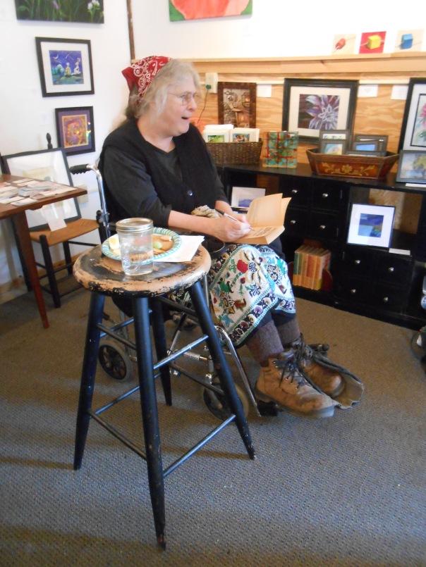 Carolyn Chute signing Steffanie Antonio's book